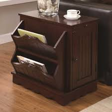 coaster contemporary side table cabinet with magazine rack