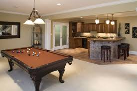 Breathtaking Basement Pool Table With Brown Wooden Frame Over - Kitchen pool table