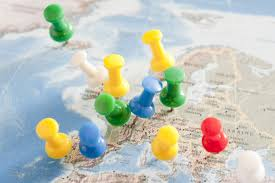 Map Tacks Image Of Colorful Pins Inserted Into Map Of Europe Freebie