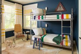 Industrial Bunk Beds Industrial Steel Pipe Bunk Beds With Colorful Striped Bedding