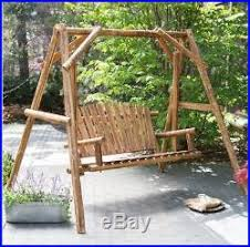 wood porch swing bench deck yard outdoor garden patio rustic log
