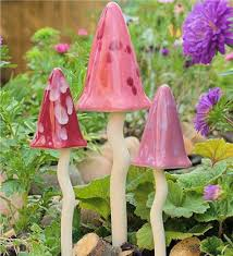 tinkling toadstool outdoor ornaments set of 3 miniature