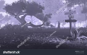 creepy crimson sky halloween background creepy night forest silhouette grim reaper stock illustration