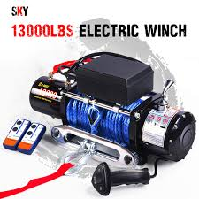 12v wireless synthetic 13000lbs electric winch atv 4wd boat