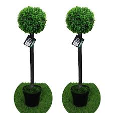 pair of 2 80cm artificial box wood tree indoor or outdoor