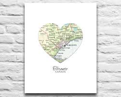 toronto canada vintage heart map digital download for you 2