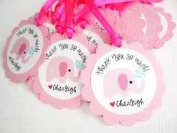 party favor labels pink elephant favor tags for baby girl shower party personalized