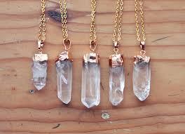 make crystal pendant necklace images Gold dipped raw quartz crystal point necklace rough clear jpg