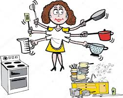 busy housewife cartoon showing woman in kitchen u2014 stock vector