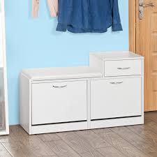 amazon com sobuy storage bench with 3 drawers u0026 padded seat