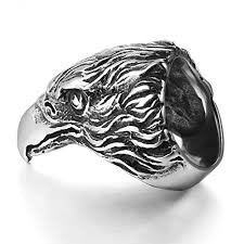 vintage titanium rings images Mendino mens stainless steel ring eagle hawk head biker silver jpg