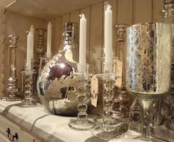 decorating antique mercury glass candle holders with pillar for