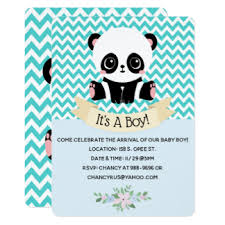 Panda Baby Shower Invitations - boys panda baby shower invitations u0026 announcements zazzle com au