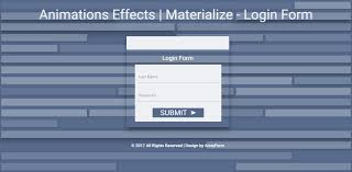 Template For Login Form by Animations Effects Materialize Login Form Template 2017