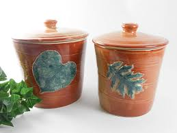 pottery canister set leaf canister set kitchen canisters