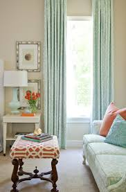 coral colored curtains with white wood bedroom traditional and