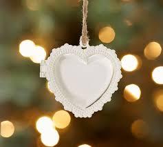 personalized heart locket personalized heart locket ornament pottery barn