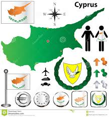 Map Of Cyprus Cyprus Contour At The Creased Map Of European Union Royalty Free