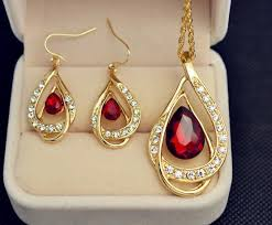 crystal drop pendant necklace images New fashion jewelry set gold plated crystal drop pendant necklace jpg