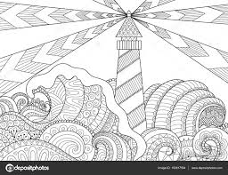 seascape line art design for coloring book for anti stress