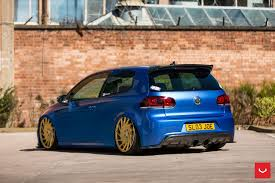 blue volkswagen blue stanced vw golf treated to carbon fiber and other goodies