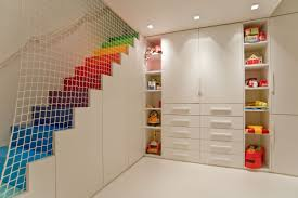 well liked kids basement playroom ideas with rainbow step stairs