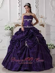 puffy dark purple quinceanera dress taffeta appliques discount