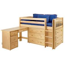 Amazon Com Bunk Bed All In 1 Loft With Trundle Desk Chest Closet by Loft Bed With Dresser Circles Twin Loft Bed With Storage Bunk Bed