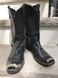 vintage black leather harness boots size 11 womens size 9 5 mens