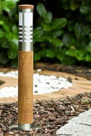 lamp post wood bollard garden light eco standard lamp steel wood