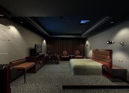 dark basement bedroom ideas black table bedside grey patterned cur