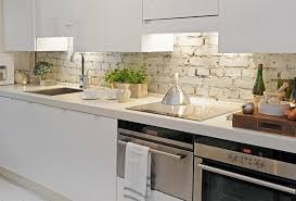 superb scandinavian kitchen demonstrates white brick backsplash