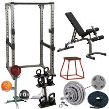 Weights And Bench Set Garage Gym Cross Training Studio Set Silver Package Body