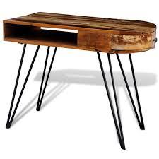 pied de bureau bois bureau en bois solide recyclé avec pieds broche en fer achat