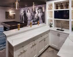 Built In Bar Cabinets Basement Wet Bar With Built In Shelves Transitional Basement