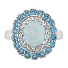 matrix opal ring diamond accent u0026 oval created opal ring with scallop blue topaz