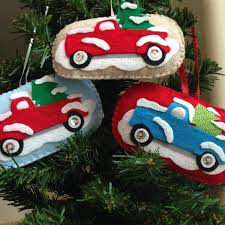 jeep christmas ornament vintage snow covered red pickup truck felt christmas ornament on