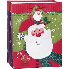 christmas gift bag medium smiling santa christmas gift bag walmart