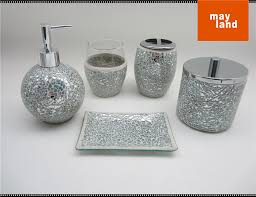 Glass Bathroom Accessories by Mosaic Glass Bathroom Accessory 5pcs Set With Cracking Mirror Ball
