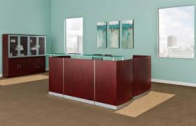 L Shaped Reception Desks Medina Mahogany L Shaped Reception Desk With Glass Transaction Counter