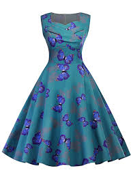 vintage butterfly print ruched pin up dress in blue green 2xl