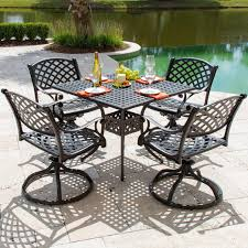 Swivel Rocker Patio Dining Sets Heritage 5 Cast Aluminum Patio Dining Set With Swivel