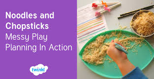 twinkl writing paper noodles and chopsticks messy play planning in action