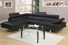 Left Sectional Sofa Black Faux Leather Adjustable Sectional Sofa With Left