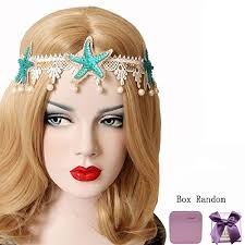 forehead bands bodermincer fashion acrylic starfish real shell wave