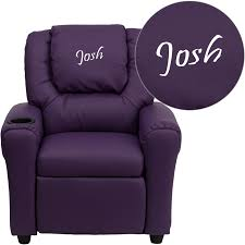 personalized purple vinyl kids recliner with cup holder and