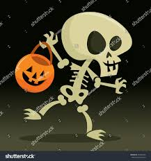 cartoon halloween picture cartoon vector illustration happy skeleton going stock vector