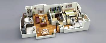 3d home interior 25 one bedroom house apartment plans