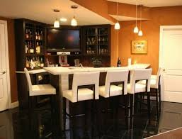modern luxury home bar with pristine white leather bar stools dark
