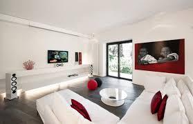 white modern living room red white apartment